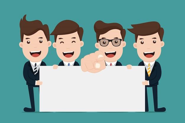 Équipe d'homme d'affaires détiennent un signe vierge. Vecteur Premium