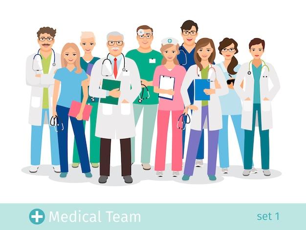 Équipe hospitalière isolée. médecin et assistante, infirmières et illustration vectorielle de groupe médical aidant Vecteur Premium