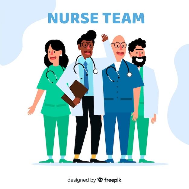 Équipe infirmière plate Vecteur gratuit