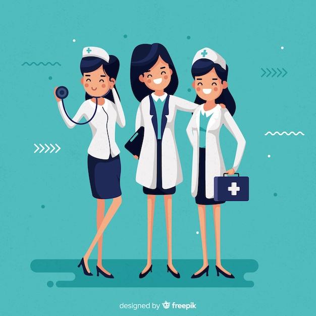 Équipe d'infirmières dessinées à la main Vecteur gratuit
