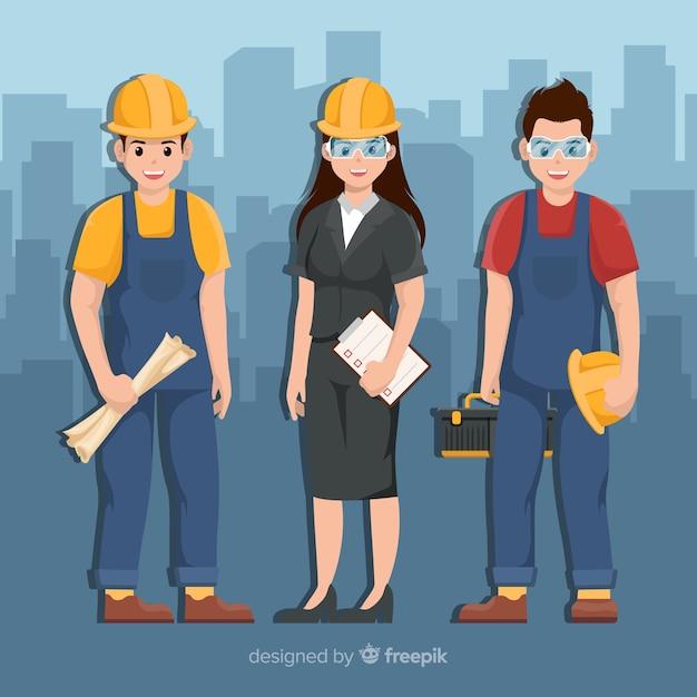 Équipe d'ingénieurs au travail Vecteur gratuit