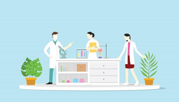 Équipe de laboratoire apprendre la science discuter de la chimie Vecteur Premium