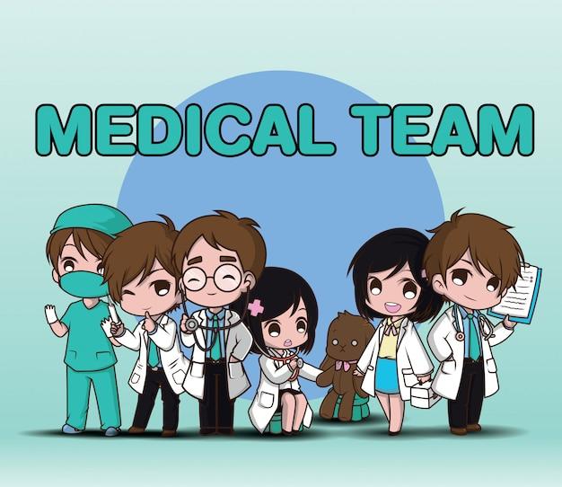 Équipe médicale,. docteur de personnage de dessin animé mignon. Vecteur Premium