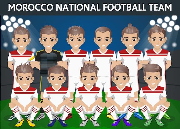 Equipe Nationale De Football Du Maroc Pour Le Tournoi International Vecteur Premium