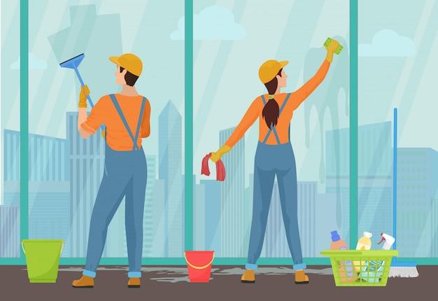 Équipe de nettoyage concierges nettoyage des vitres Vecteur Premium