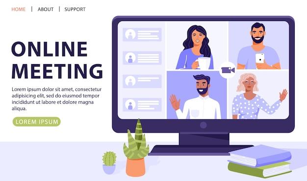 Équipe De Personnes Sur écran D'ordinateur Ayant Une Conversation. Chat Vidéo. Vecteur Premium