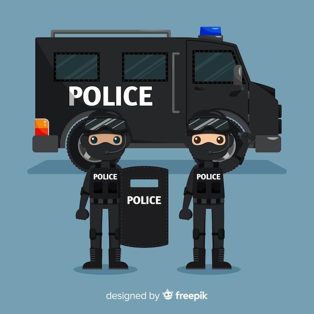 Équipe de police Vecteur gratuit