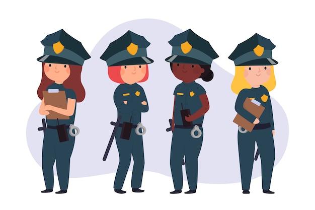 Équipe De Policières En Première Ligne Vecteur gratuit