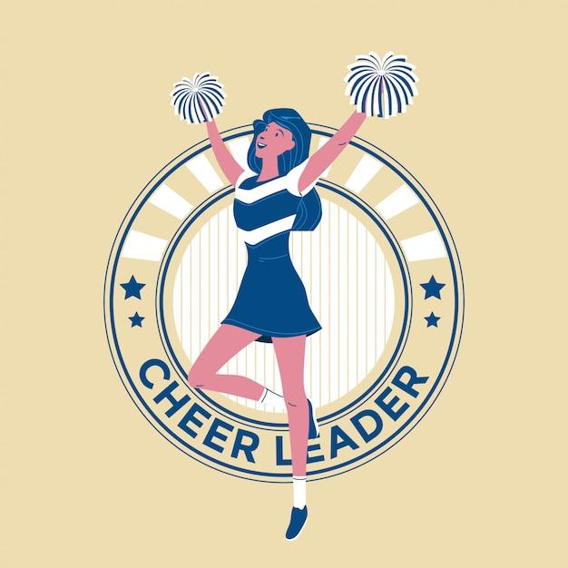Équipe De Pom-pom Girls Adolescentes Jeunes Effectuant La Danse Avec Des Pompons Illustration Vecteur Premium