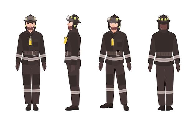 Équipe De Pompiers Portant Des Vêtements De Protection Et Un Casque Vecteur Premium
