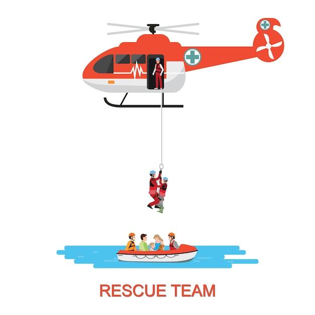 Équipe de sauvetage avec sauvetage par hélicoptère et bateau. Vecteur Premium