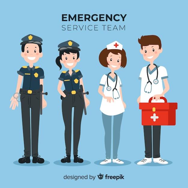 Équipe de service d'urgence plat Vecteur gratuit