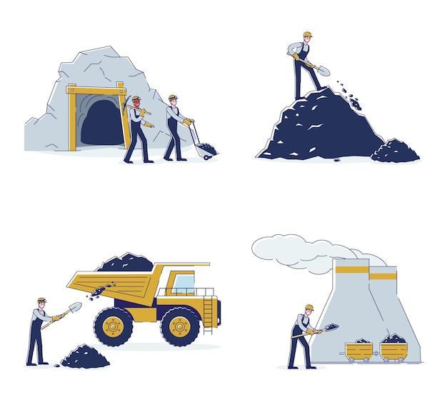 Équipe De Travail Mine De Charbon Par Des Moyens D'équipement Vecteur Premium