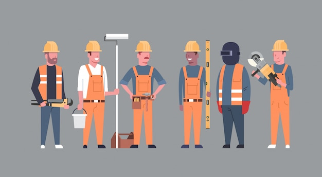Équipe de travailleurs de costruction techniciens industriels mix race men builders group Vecteur Premium