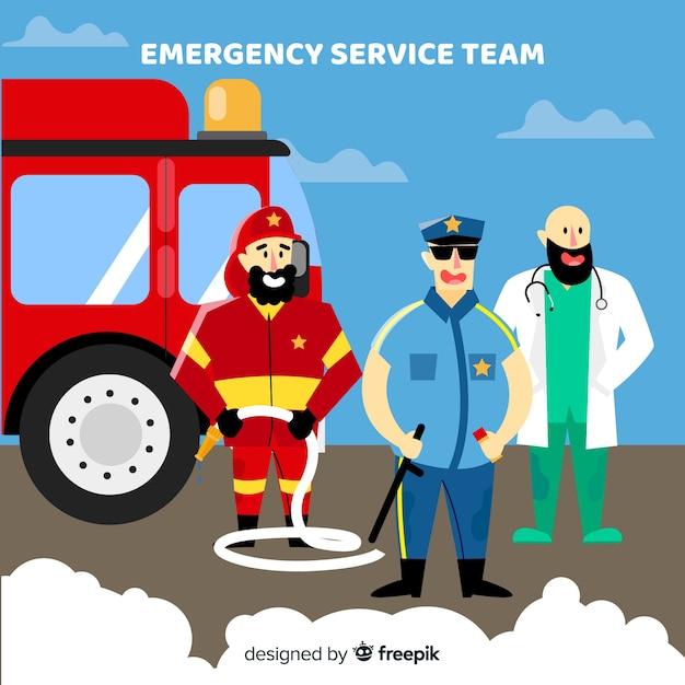 Équipe d'urgence en design plat Vecteur gratuit