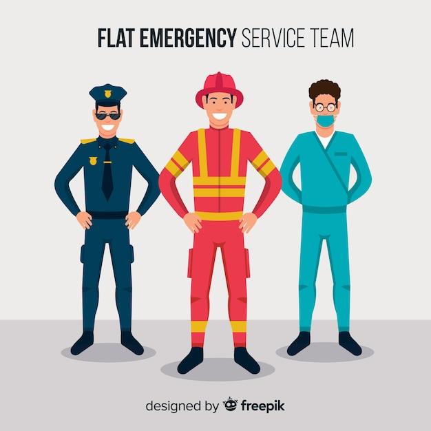 Équipe d'urgence à plat Vecteur gratuit
