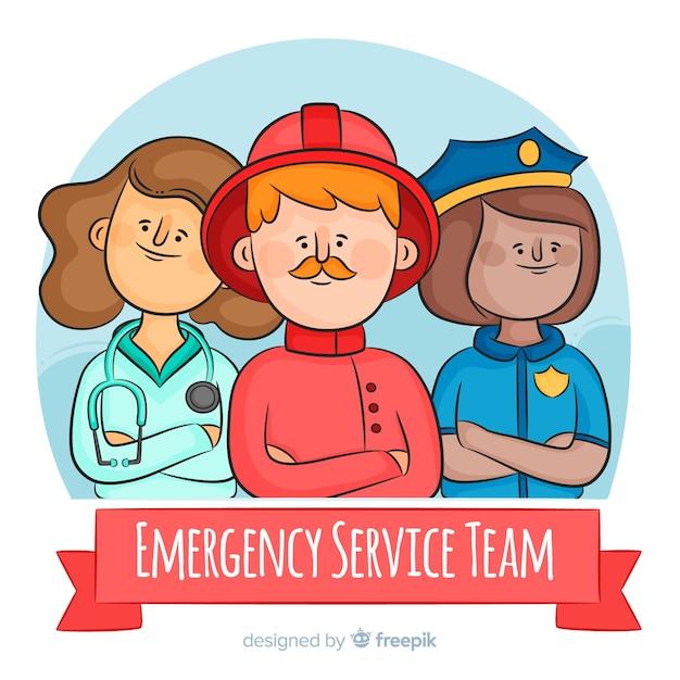 Équipe d'urgence professionnelle dessinée à la main Vecteur gratuit
