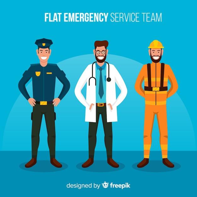 Équipe d'urgence en style plat Vecteur gratuit