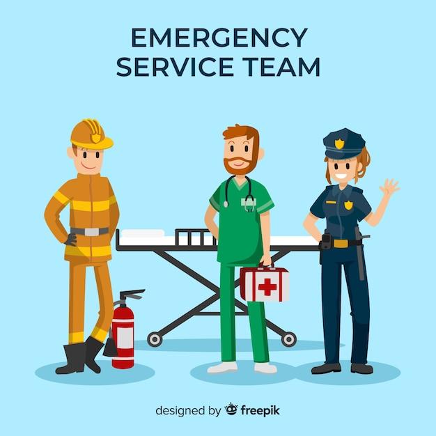 Équipe d'urgence Vecteur gratuit