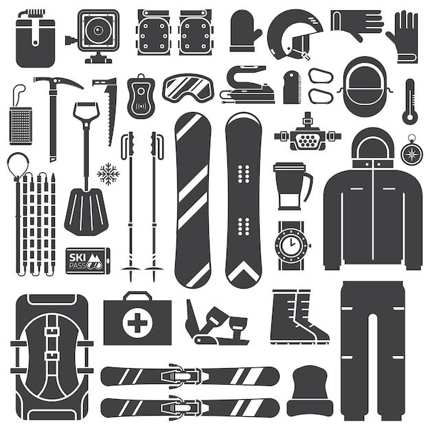 Équipement Et Accessoires De Ski De Montagne Décrivent La Collection D'icônes. Vecteur Premium