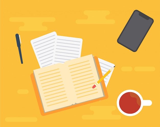 Équipement au bureau. livre, une tasse de café et un téléphone portable Vecteur Premium