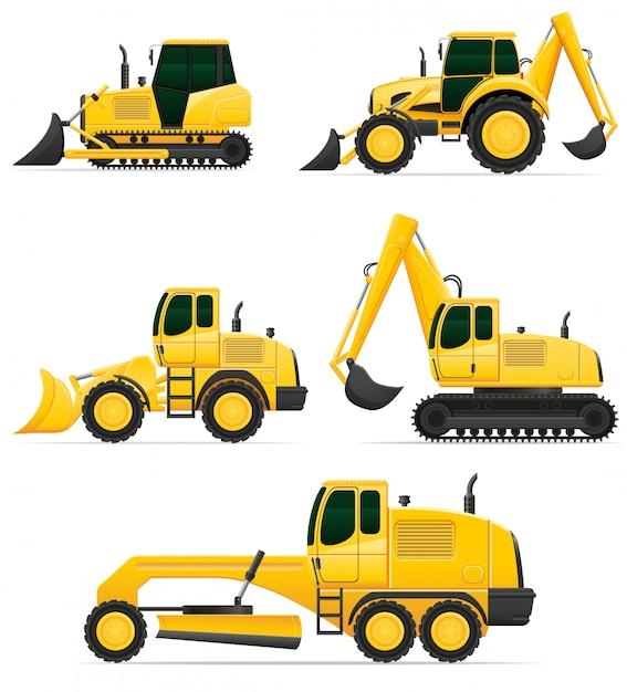 Equipement automobile pour travaux de construction Vecteur Premium