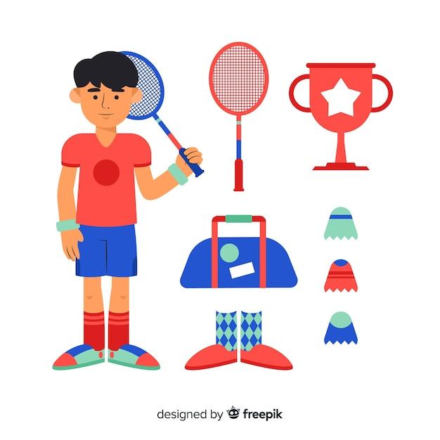 Équipement de badminton Vecteur gratuit