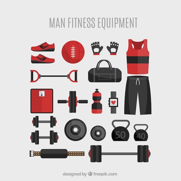 Équipement de conditionnement physique de l'homme Vecteur gratuit