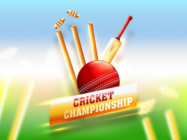 Équipement de cricket réaliste tel que batte Vecteur Premium