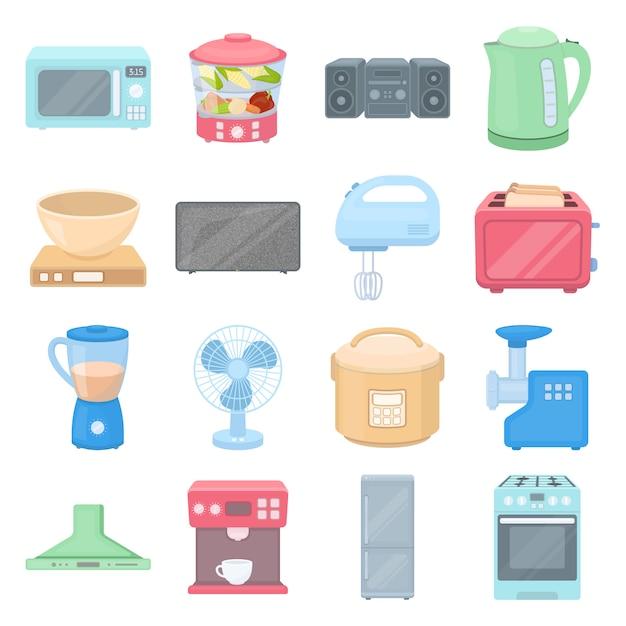Équipement de cuisine cartoon vector icon set. illustration vectorielle d'appareil ménager. Vecteur Premium