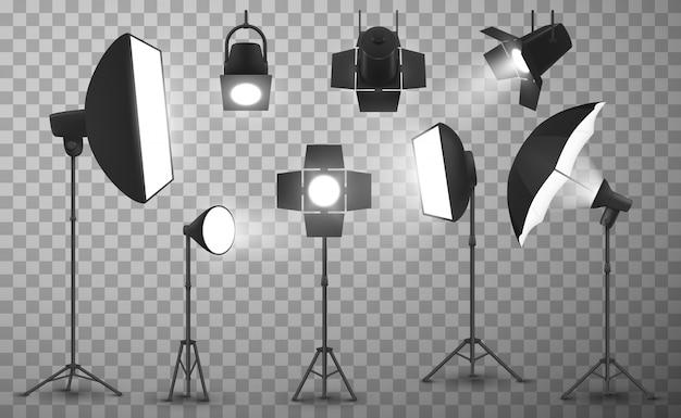 Équipement D'éclairage Studio Photo Réaliste Vecteur Premium