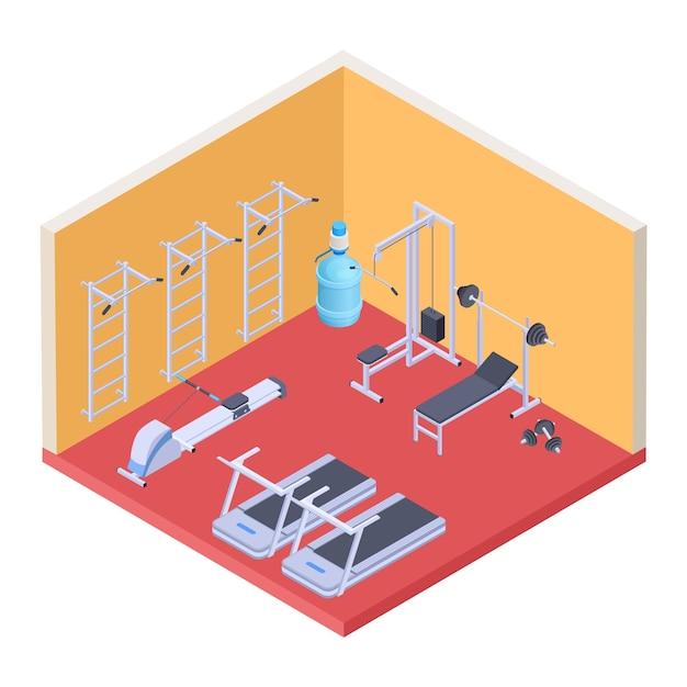 Équipement De Gym Et Fitness Isométrique Vecteur Premium