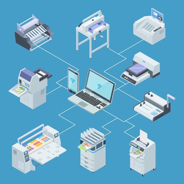 Équipement D'imprimerie Infographique. Traceur D'imprimante, Concept De Vecteur Isométrique De Machines De Découpe Offset Vecteur Premium