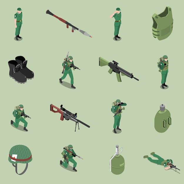 Équipement Isométrique De Soldat Ensemble De Fusils D'armure De Casque Casque Bottines Pot De Soldat Icônes Isolées Vecteur gratuit