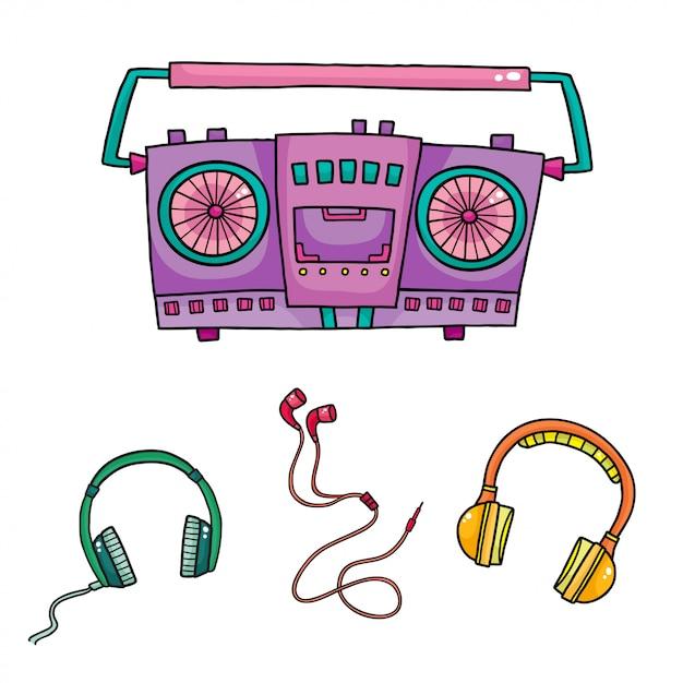 Equipement musical magnétophones rétro et collection d'écouteurs Vecteur Premium