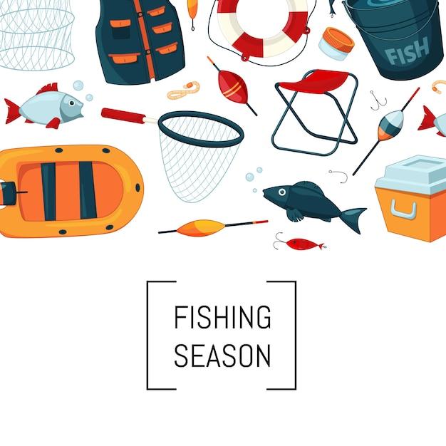 Équipement de pêche de bande dessinée Vecteur Premium