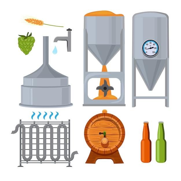 Equipement pour la brasserie. photos en style cartoon. bière boire de l'alcool, boisson lager de brasserie, illustration vectorielle Vecteur Premium