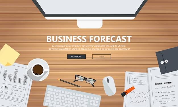 Équipement de prévision d'affaires sur le bureau Vecteur Premium