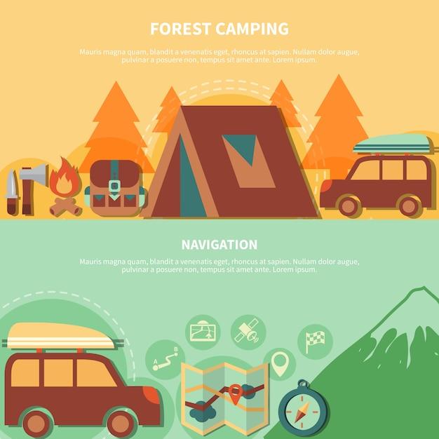 Equipement de randonnée et accessoires de navigation pour camping forestier Vecteur gratuit