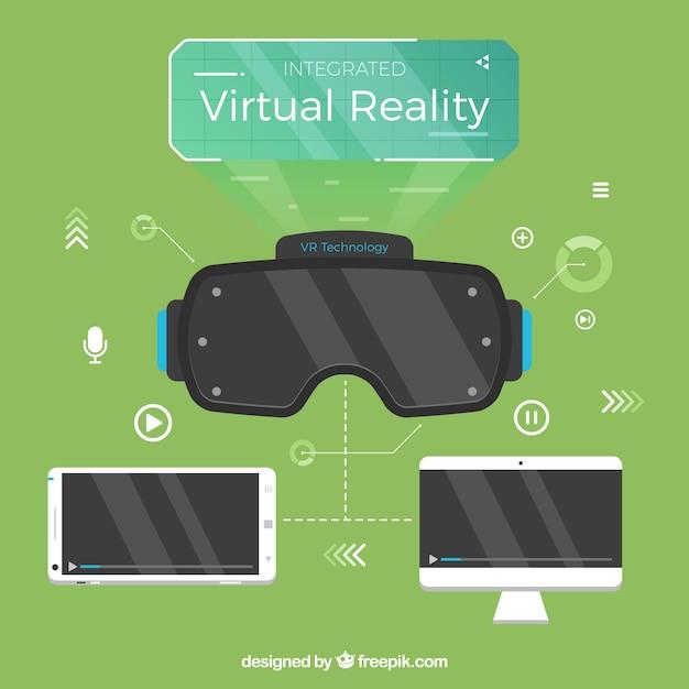 L'équipement de réalité virtuelle dans la conception plate Vecteur gratuit