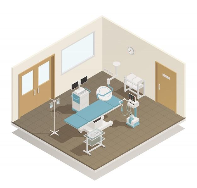 Équipement de salle d'opération isométrique Vecteur gratuit