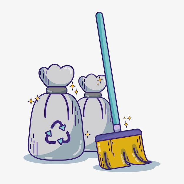 Équipement de service domestique pour nettoyer l'illustration vectorielle de maison Vecteur Premium