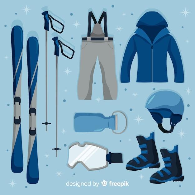 Équipement de sport d'hiver plat Vecteur gratuit