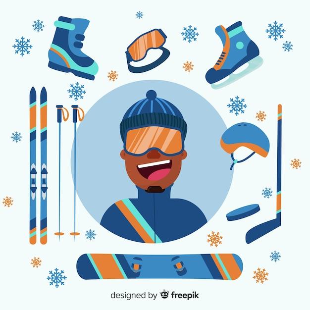 Équipement de sport d'hiver Vecteur gratuit