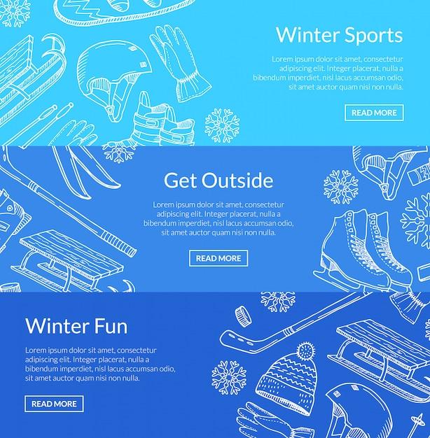Équipement de sports d'hiver dessiné à la main et attributs Vecteur Premium