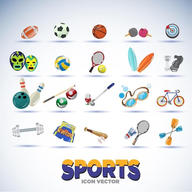 Équipements de sport. Vecteur Premium