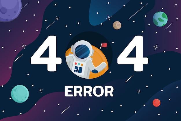 Erreur 404 Avec L'astronaute Et La Planète Dans L'arrière-plan De L'espace Vecteur Premium