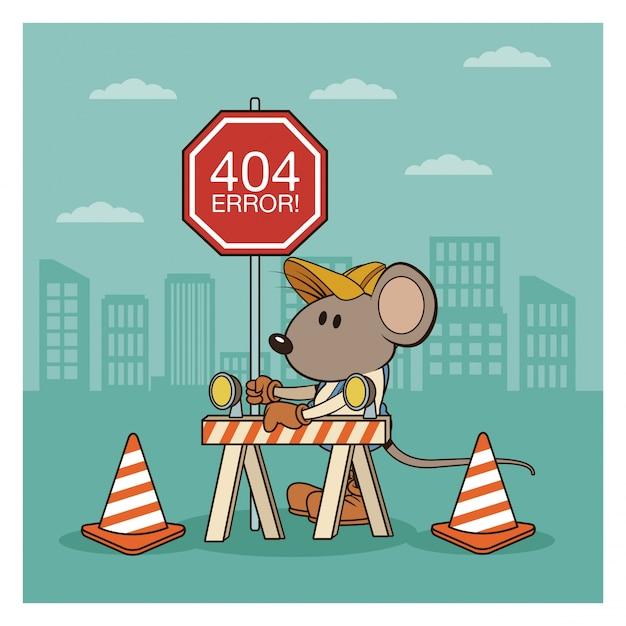 Erreur 404 avec dessin animé de souris drôle Vecteur Premium