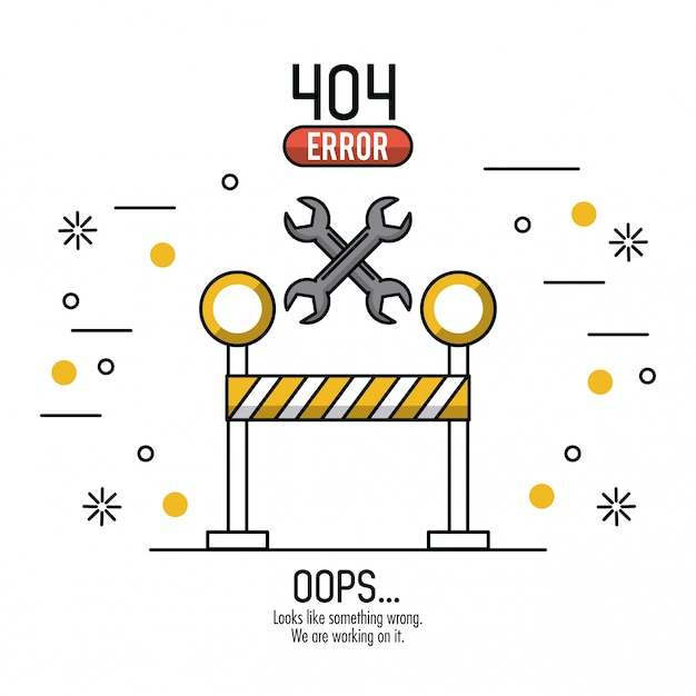 Erreur 404 infographie sur fond blanc Vecteur Premium