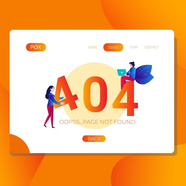 Erreur 404 page non trouvée illustration pour site web Vecteur Premium